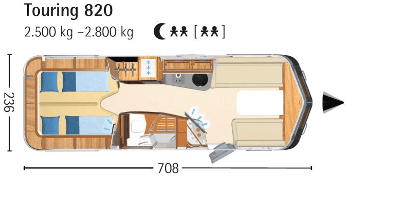 Eriba Touring 820 layout and dimensions