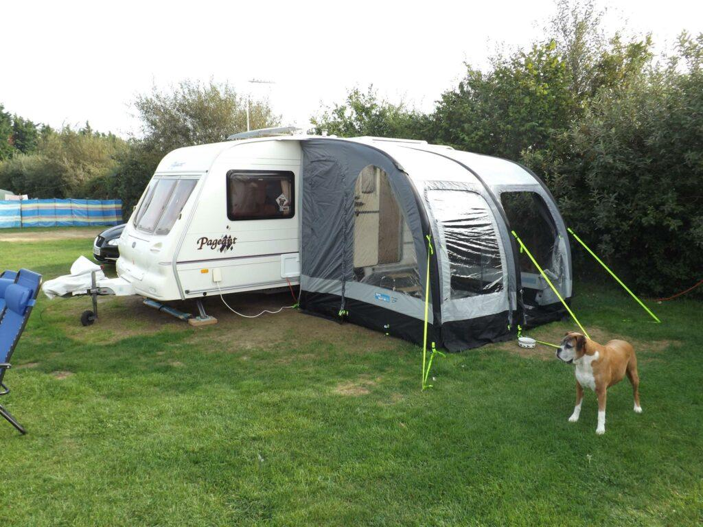 Awning for caravan at camping site