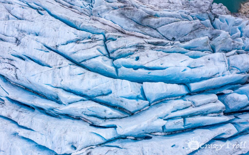Drone photo of glacier ice in Norway