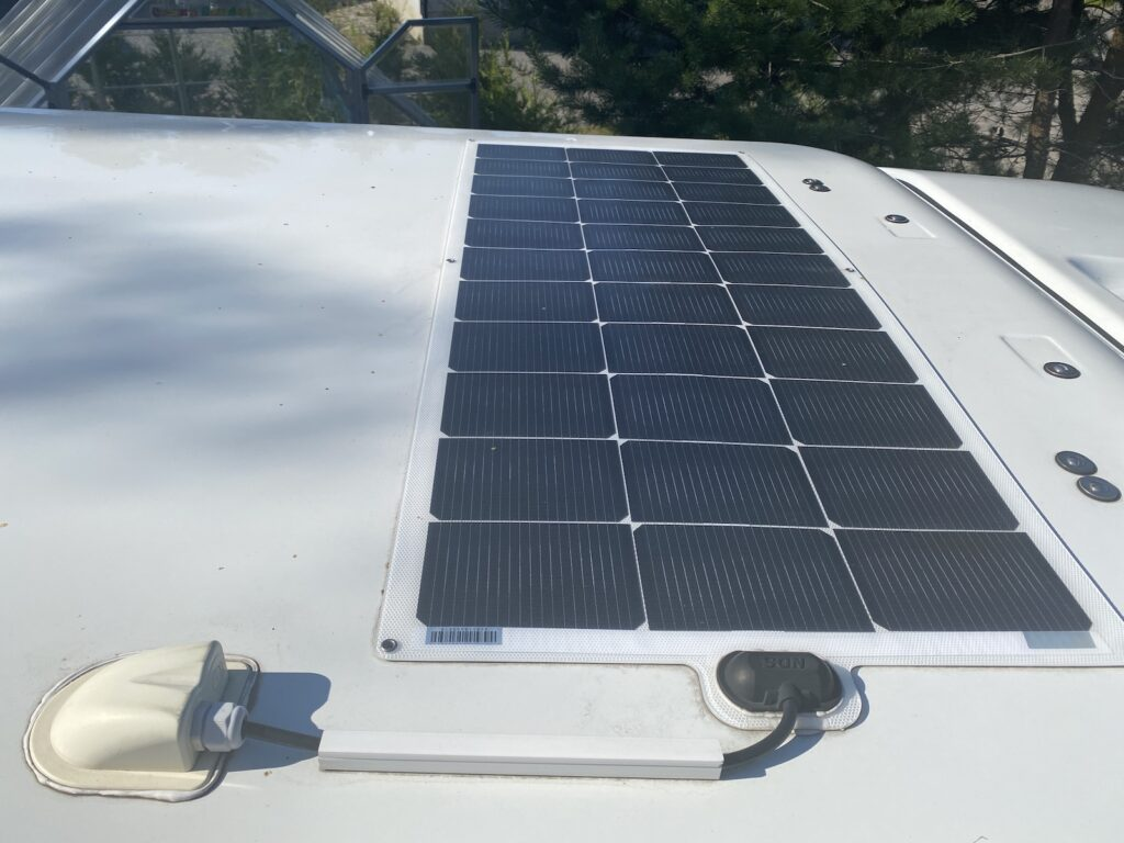 Solar panel for touring caravan installed on the roof