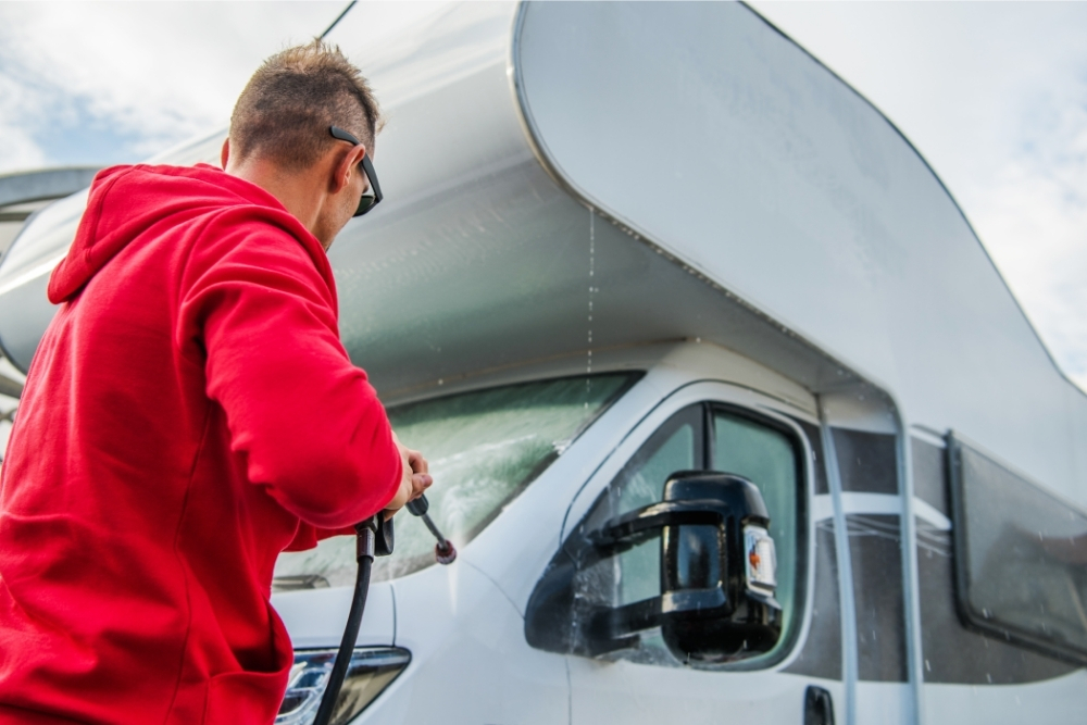 What is the best way to clean the outside of a caravan